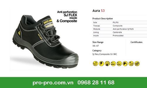 Giày bảo hộ lao động jogger Aura S3 được sản xuất bởi da thật 100% với nhiều tính năng vượt bậc.