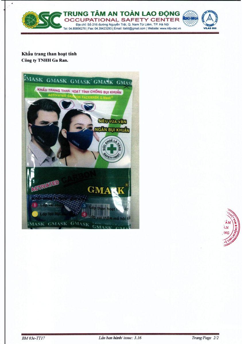 Giấy chứng nhận khẩu trang hoạt tính Gmask