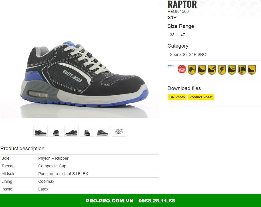 Giày bảo hộ Raptor S1P siêu nhẹ duy nhất tại việt nam