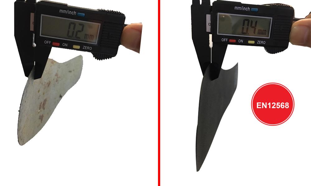 So sánh độ dày tấm lót thép của giày bảo hộ thường vs giày bảo hộ GARAN GS1