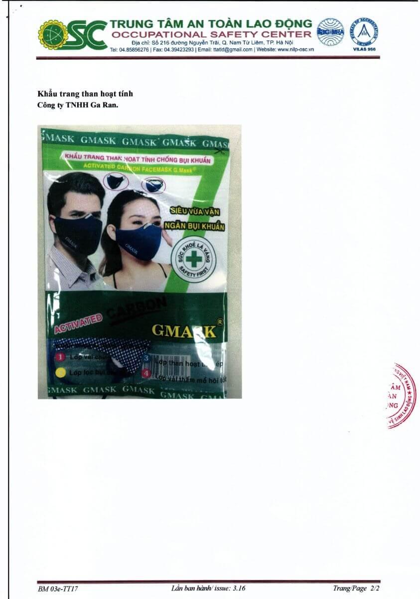Chứng chỉ chất lượng của khẩu trang G.Mask doTrung Tâm An Toàn Lao Động cấp